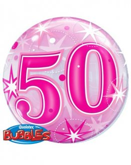 "22"" 50th Pink Starburst Sparkle Single Bubble Balloons"
