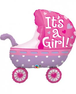 Its A Girl Baby Stroller Supershape Balloons
