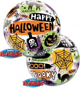 "22"" Halloween Messages & Icons Single Bubble Balloons"