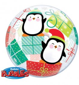 "22"" Penguins & Present Single Bubble Balloons"