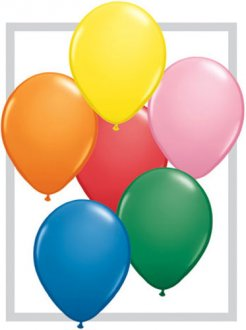 "9"" Standard Assortment Latex Balloons 100pk"