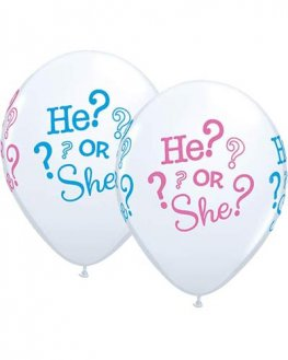"11"" He Or She Latex Balloons 25pk"