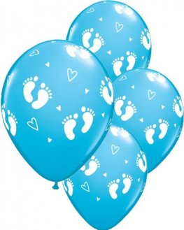 "11"" Baby Boy Footprints & Hearts Latex Balloons 25pk"