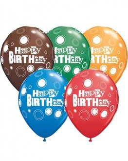 "11"" Happy Birthday Bold Dots Latex Balloons 25pk"