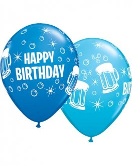 "11"" Happy Birthday Beer Mugs Latex Balloons 25pk"