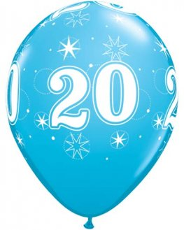 "11"" 20 Robins Egg Blue Sparkles A Round Latex Balloons 25pk"