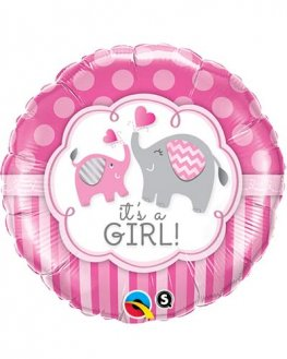 "18"" Its A Girl Elephants Foil Balloons"