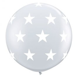 3ft Diamond Clear Big Stars A Round Giant Latex Balloons 2pk