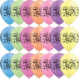 "11"" Neon Assorted Music Notes Latex Balloons 25pk"