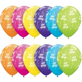 "11"" Happy Birthday A Round Tropical Latex Balloons 25pk"