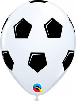 "11"" Black & White Football Latex Balloons 25pk"