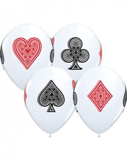"11"" Card Suits White Latex Balloons 25pk"