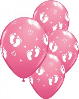 "11"" Baby Footprints & Hearts Rose Latex Balloons 6pk"