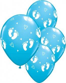 "11"" Baby Footprints And Hearts Blue Latex Balloons 6pk"