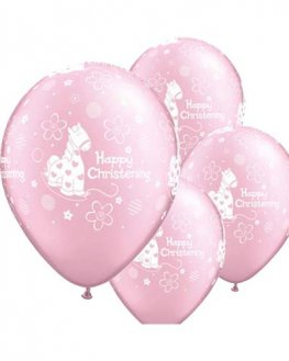 "11"" Christening Girl Soft Pony Latex Balloons 6pk"