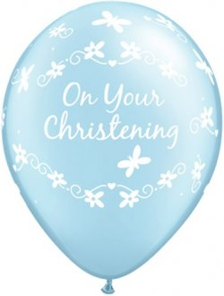 "11"" Pearl Blue Christening Butterflies Latex Balloons 25pk"