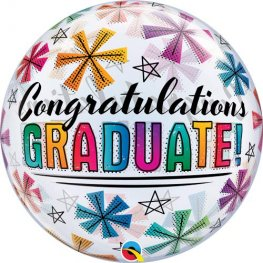 "22"" Congratulations Graduate & Stars Single Bubble Balloons"