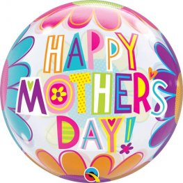 "22"" Mothers Day Big Flowers Single Bubble Balloons"