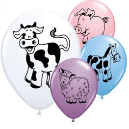 "11"" Farm Animals Latex Balloons 6pk"