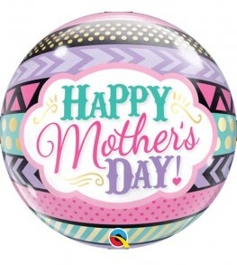 "22"" Mothers Day Dots & Stripes Single Bubble Balloons"