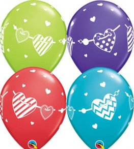 "11"" Banner Hearts Latex Balloons 25pk"