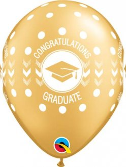 "11"" Gold Congratulations Graduate Dots Latex Balloons 25pk"
