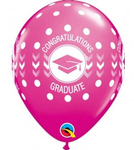 "11"" Wild Berry Congratulations Graduate Dots Latex Balloons 25pk"