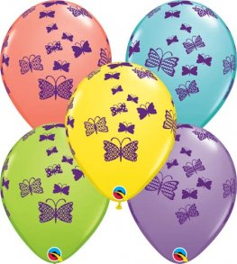 "11"" Butterflies Rising Latex Balloons 25pk"