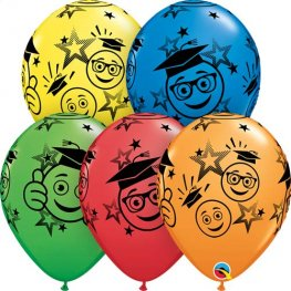 "11"" Graduation Smileys Latex Balloons 25pk"
