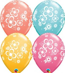 "11"" Floral Blossoms Latex Balloons 25pk"