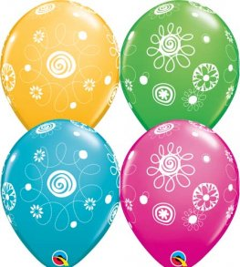 "11"" Scribble Circles & Flowers Latex Balloons 25pk"