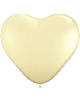 "6"" Ivory Silk Heart Latex Balloons 100pk"