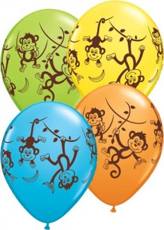 "11"" Mischievous Monkey Latex Balloons 25pk"