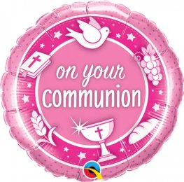 "18"" On Your Communion Pink Foil Balloons"