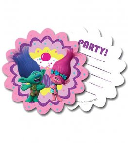 Trolls Party Invitations And Envelopes 6pk