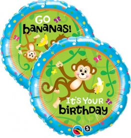 "18"" Birthday Monkeys Foil Balloons"