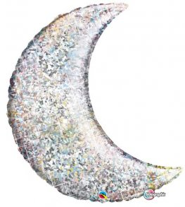 "35"" Silver Holographic Crescent Moon Foil Balloon"