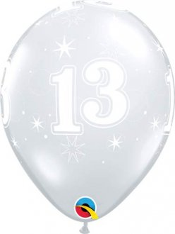 "11"" 13 Diamond Clear Sparkle A Round Latex Balloons 25pk"