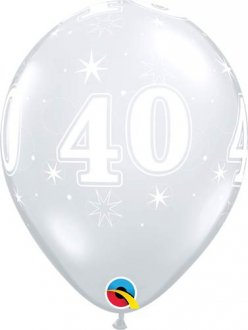 "11"" 40 Diamond Clear Sparkle A Round Latex Balloons 25pk"