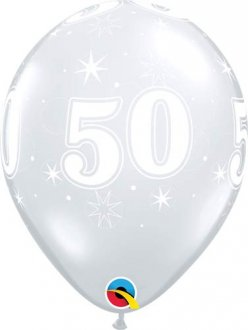 "11"" 50 Diamond Clear Sparkle A Round Latex Balloons 25pk"