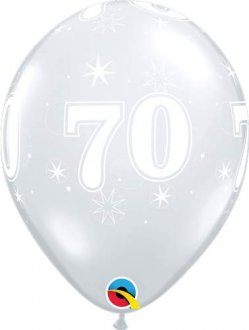 "11"" 70 Diamond Clear Sparkle A Round Latex Balloons 25pk"