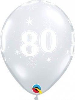 "11"" 80 Diamond Clear Sparkle A Round Latex Balloons 25pk"