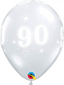 "11"" 90 Diamond Clear Sparkle A Round Latex Balloons 25pk"