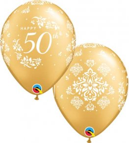 "11"" 50th Anniversary Damask Latex Balloons 25pk"