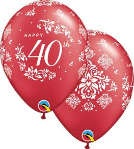"11"" 40th Anniversary Damask Latex Balloons 25pk"