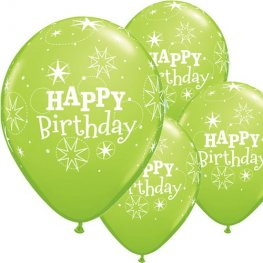 "11"" Happy Birthday Lime Green Sparkle Latex Balloons 6pk"