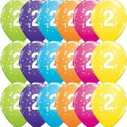 "11"" 2 Stars Tropical Assorted Latex Balloons 25pk"