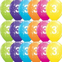 "11"" 3 Stars Tropical Assorted Latex Balloons 25pk"