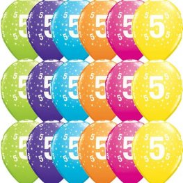 "11"" 5 Stars Tropical Assorted Latex Balloons 25pk"