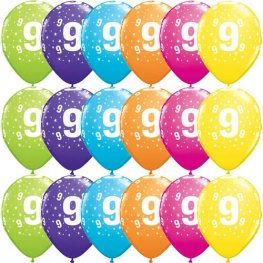 "11"" 9 Stars Tropical Assorted Latex Balloons 25pk"